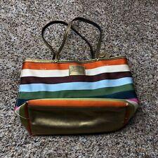 Coach C0768 11126 Satin Multi Jewel Color Satin Striped Tote Shoulder Bag Purse