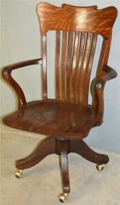 19694 Victorian Oak Tall Swivel and Tilt Lawyers Bankers Office Chair