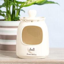 White Love Heart Salt Pig Kitchen Storage Jar Canister Cellar Holder Caddy Pot