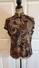 Dressbarn Black Gold Metallic Textured Stretch Embellished Top Size Large