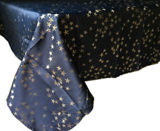 Assorted Sizes Christmas Holiday Stars Polyester Fabric Tablecloths Blue Color