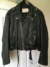 80's Vintage Excelled Motorcycle Leather Jacket 46 biker punk rock sears cd lp