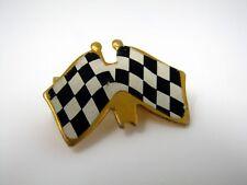 Vintage Collectible Pin: Checkered Flags Checker Black White