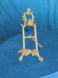 Medium Size Vintage Brass Ornate Display Easel For Picture Or Plate Holder