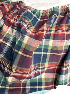 """Ralph Lauren Garrison Plaid Twin Ruffled Bed Skirt 15"""" Drop Excellent"""