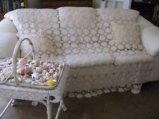 Vintage Ecru Floral Queen Anne Canopy Bedspread Throw Curtain Tablecloth 80x70