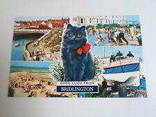 "Bamforth 'Color Gloss"" Postcard Lucky Black Cat+Bridlington Multi-View §A1612"