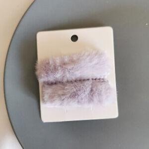 2Pcs/Set Winter Plush Square Hairpins Candy Color Faux Fur Hair Clip Barrettes