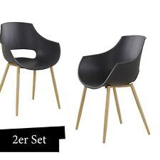 Stuhl Schalenstuhl Schwarz 2er Set Wohnzimmer Stühle Esszimmerstuhl mit Lehne