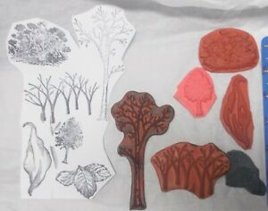 Trees nature rubber stamp leaves flowers unmounted bundle art journaling scenic