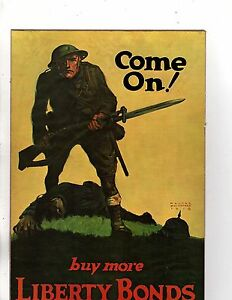 "Unframed Art Poster War Ad Artist Whitehead ""Come on Buy"" Liberty Bonds"" (m206)"