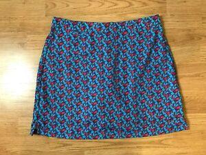 Peter Millar Womens Athletic Skort Size L Golf Butterflies Blue Red Skirt