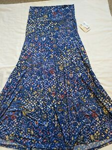 NWT LuLaRoe Maxi Skirt Medium blue background with multicolored floral pattern