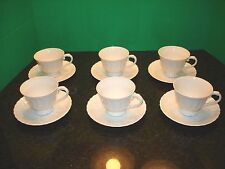 SYRACUSE CHINA WHITE SILHOUETTE BELOVED CUP & SAUCER 6 SETS