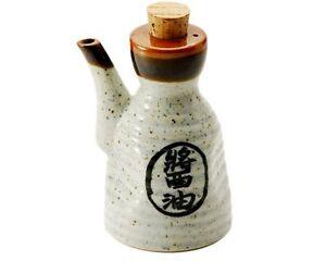 """Japanese Ceramic Dispenser Bottle Vinegar Oil """"Soy Sauce"""" Kanji Made in Japan"""