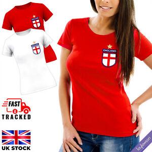 Womens England Football Team Badge T-Shirt Ladies European Cup 2021 Tee Top