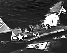 New 8x10 World War II Photo: Aerial View of SB2C Aircraft with USS YORKTOWN