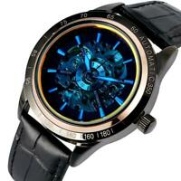 Men's Auto Mechanical Skeleton Wrist Leather Band Strap Analog Watches Luminous