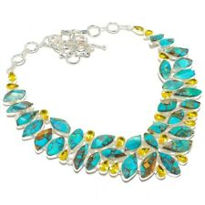 """Copper Turquoise, Citrine Gemstone 925 Sterling Silver Necklace 18"""""""