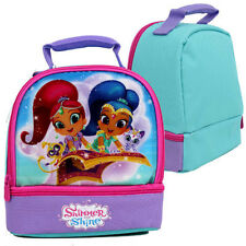 SHIMMER & SHINE Girls Dual Compartment Insulated Cooler Lunch Bag Box School NEW