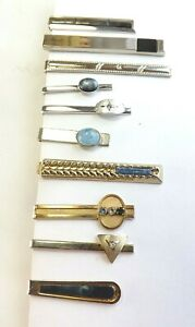 Job Lot 10 Tie Clips Pins Vintage Gold and Silver Tone with Stones Crystal etc