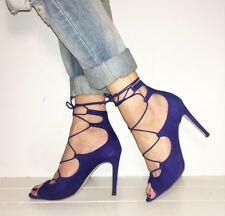 ALDO Blue Suede Peep Toe Lace Uo Ankle Tie Stilettos Heels Size 5 / 38