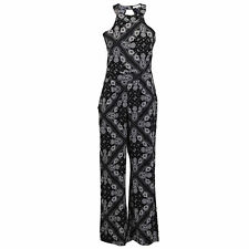 Ladies Dungaree Brave Soul Paisley Pattern Jumpsuit Key Hole Playsuit Summer Black - 225jacky Medium