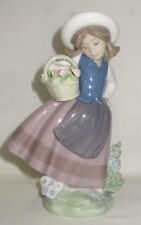 "Lladro figurine #5221 ""Sweet Scent"" Girl with Flower Basket. Made in Spain"
