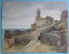 Guazzo dipinto di Porto San Pietro Porto Venere Richard Lipps scuola di Monaco ~ 1910