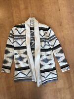BB Dakota Women's Sweater Open Front Drape Collared Cardigan Aztec Pattern M