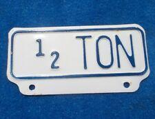 Vintage Original 1/2 Ton Pickup Tag Topper White w/ Blue Highlights NOS