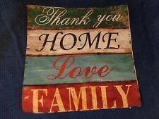 HOUSSE DE COUSSIN THANK YOU HOME FAMILY  VINTAGE SANS MARQUE 42 CM X 42 CM