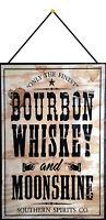 Bourbon Whiskey Moonshine Schild mit Kordel Metal Tin Sign 20 x 30 cm FA0285-K