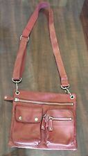 Fossil Red Leather Sutter Style Smaller Messenger Bag Purse EUC