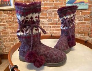 MUK LUKS Gracie Plum Purple Tall Slippers Boot Faux Fur Poms New