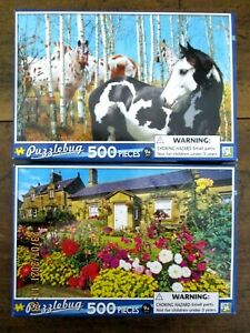 BN & SEALED - 2 x 500 pce PUZZLEBUG JIGSAW PUZZLES - A SUMMER VIEW & BIRCH GROVE