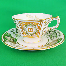 GREEN PANEL Royal Crown Derby CUP & SAUCER  NEW made in England