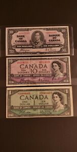 1937 & 1954 Canada Banknotes. Lot of 3. DEVIL FACE & REPLACEMENT Notes.