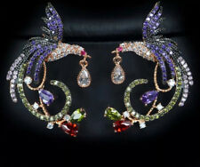 18k Rose Gold Earrings made w/ Swarovski Crystal Multicolor Stone Bird Earrings