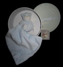 Doudou Ours Ourson calin bleu mouchoir carré plat Kaloo Perle 33 cm K962159
