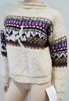 ISABEL MARANT ETOILE Cream Wool Alpaca Jacquard Knit Jumper Sweater UK6 BNWT