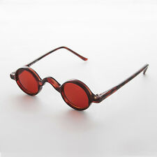Round Retro Victorian w/ Red Colored Lens Vintage Sunglasses (Brown) -SHIVA