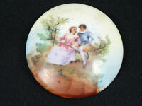 """ANTIQUE HAND PAINTED LIMOGES STYLE COURTSHIP SCENE PIN BROOCH ~ 1.75"""""""