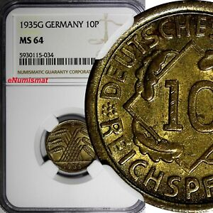 Germany - Weimar Republic 1935 G 10 Reichspfennig NGC MS64 TOP GRADED KM# 40 (4)