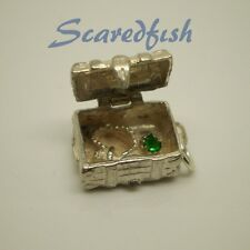 "3D ""JEWELLED TREASURE CHEST"" Opening Sterling Silver Charm Pendant"
