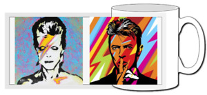 david bowie mug, art, gift, ziggy Stardust, pop icon, coffee,Aladdin sane,