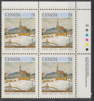 CANADA #1258 76¢ Christmas Winter Landscapes UR Inscription Block MNH