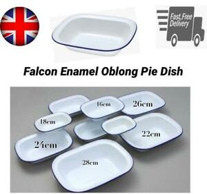 FALCON ENAMEL PIE DISH OBLONG BAKE STEAK PUDDING ASHET BAKING OVEN WHITE TIN NEW