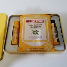 Burt's Bees Lip Balm And Facial Cleansing Towelettes Normal Skin Set Of 3 In Tin