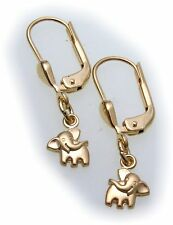 Earrings Elephant Gold 585 Children solid 14ct Elephant Yellow Gold Hanging